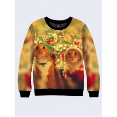 Mens 3D-print sweatshirt - Christmas red cats. Long sleeve. Made in Ukraine.