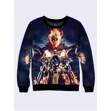 Mens 3D-print sweatshirt - Film Ghost Rider. Long sleeve. Made in Ukraine.