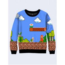Mens 3D-print sweatshirt - Game Mario. Long sleeve. Made in Ukraine.