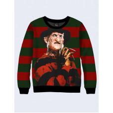 Mens 3D-print sweatshirt - Freddy Krueger, Film Nightmare on Elm Street. Long sleeve. Made in Ukraine.