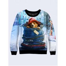 Mens 3D-print sweatshirt - Paddington Bear. Long sleeve. Made in Ukraine.