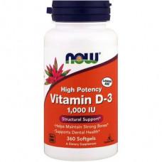 Vitamin D3, Vitamin D-3, Now Foods, High Potency, 1000 IU, 360 Capsules, 18715