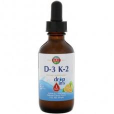 Vitamins D3 and K2, Vitamin D-3 K-2, Kal, citrus flavor, 59 ml, 22316