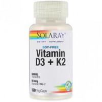 Vitamin D3 + K2, Soy-Free, Solaray, 120 Vegetarian Capsules, z01184