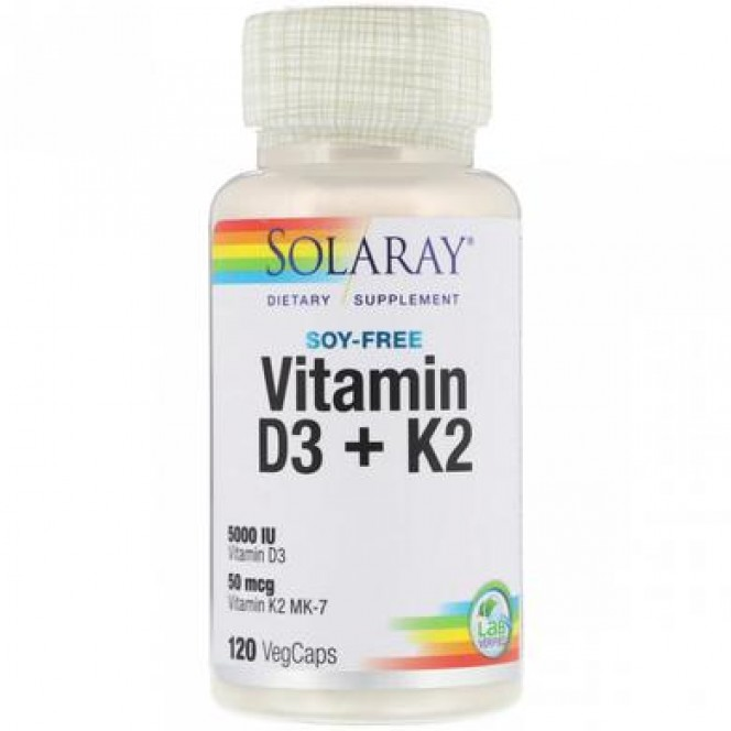 Vitamin D3 + K2, Soy-Free, Solaray, 120 vegetarian capsules 884, z01184 .. Discounts, promotions, 100% original products. Worldwide shipping, free shipping, world, health, cosmetics, fitness