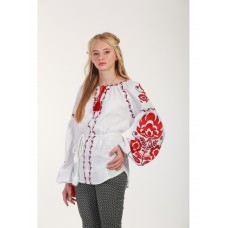 Beautiful embroidered shirt for women on white homespun cloth with floral patterns (GNM-02205)