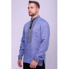 Blue linen embroidered shirt with minimalistic ornaments (FM-7010)