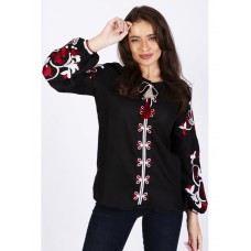 Black women's shirt with beautiful embroidery (FM-7410)