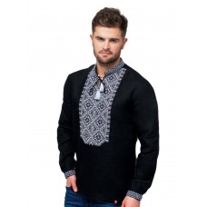 Black men's embroidered shirt with gray embroidery (FM-0783)