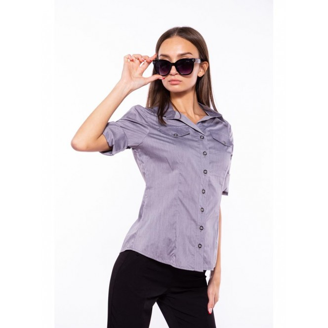 Women's shirt with a classic collar 118P005-4 (Steel) TS-