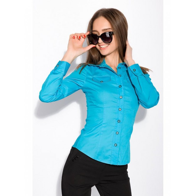 Women's shirt with long sleeves 118P082 (Blue) TS-