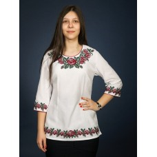 Author's white embroidered shirt with a contrasting floral pattern for women (gbv-07-05)