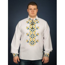 Author's white embroidered shirt with a turn-down collar and patriotic ornament for men (chsv-23-05)