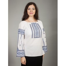 White embroidered shirt with Ukrainian ornament in black and light blue for women (gbv-16-05)