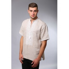 Beige linen embroidered shirt with white ornaments and short sleeves for men (NB-2003-beg)