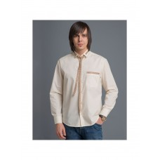 Beige knotted shirt with ornamented tape for men (821)
