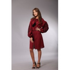 Burgundy linen boho dress with contrasting embroidery for women (NB-1525-vns)