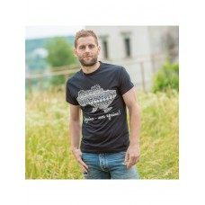 Black men's T-shirt with a print of the map
