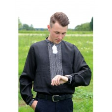 Black Stylish Linen Shirt With White Embroidered Pattern (GNM-02120)