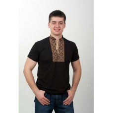 Black Viscose Knitted T-shirt with Brown Patterns for Men (NB-2006-blk)