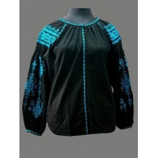 Black embroidered shirt with contrasting turquoise patterns for women (gbv-024-01)