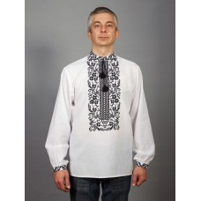 Black and white embroidered shirt with long sleeves and floral geometric patterns for men (chsv-48-02)