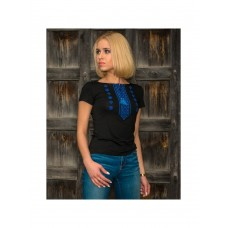 Spectacular black T-shirt for women with cross-stitch