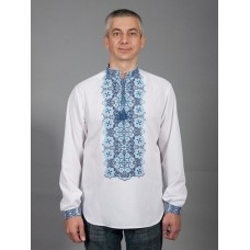 Aesthetic white embroidered shirt with long sleeves and blue-blue ornament for men (chsv-41-03)
