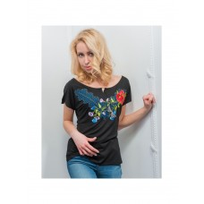 Ethno T-shirt in black for women with embroidery