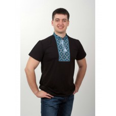 Black embroidered shirt made of viscose jersey with blue-blue ornament for men (NB-2006-blu)