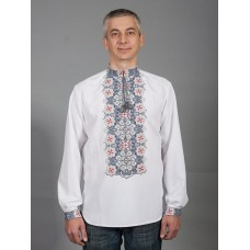 Artistic embroidered long sleeve shirt with red and gray ornaments for men (chsv-41-06)