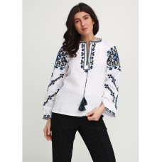 Sparkling contrasting embroidered shirt with blue-green ornament for women (gbv-18-05)