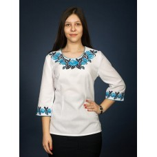 Amazing white embroidered shirt with blue trim and a floral pattern for women (gbv-06-02)