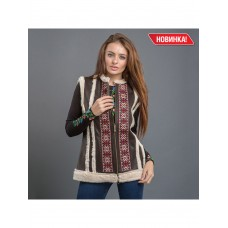 Elegant women's sleeveless shirt of chocolate color with embroidery (В-1304)