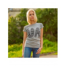 High-quality gray women's T-shirt with a print