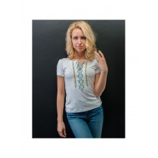 Everyday women's white T-shirt with yellow and blue embroidery