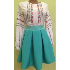 Contrasting national costume from embroidered shirt and turquoise gabardine skirt for women (GNM-01333)