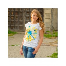 Beautiful white T-shirt for women with a print