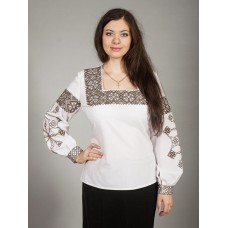 Beautiful white embroidered shirt with ornaments in yellow and dark brown colors for women (gbv-17-04)