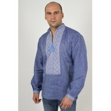 Beautiful men's embroidered shirt on a homespun cloth under jeans (GNM-02320)