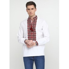 Beautiful embroidered shirt with red and black geometric patterns for men (chsv-19-01)
