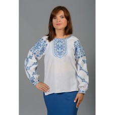 Beautiful women's blouse embroidered with blue and blue threads (gbv-35-03)