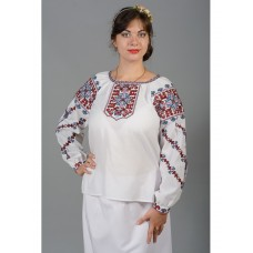 Beautiful women's blouse embroidered with blue and red threads (gbv-35-01)