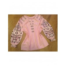 Beautiful embroidered shirt for women on pink homespun cloth (GNM-02193)