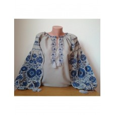 Beautiful embroidered shirt for women on gray homespun cloth (GNM-02208)