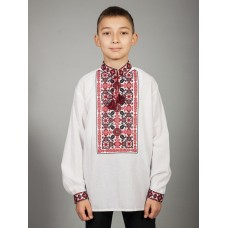 Beautiful white embroidered shirt with red and black geometric patterns for men (chsv-44-01)