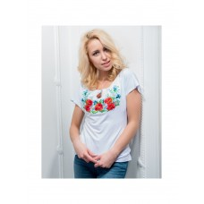 Colorful white T-shirt with satin stitch embroidery