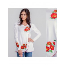 Delicate white women's T-shirt with a floral pattern