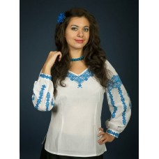 Very beautiful white blouse with blue embroidery in national style for women (gbv-02-05)