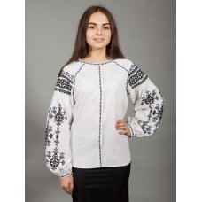 Neat white linen embroidered shirt with a national ornament in black for women (gbv-24-02)